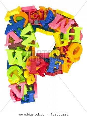the letter  Pmade from magnetic letters