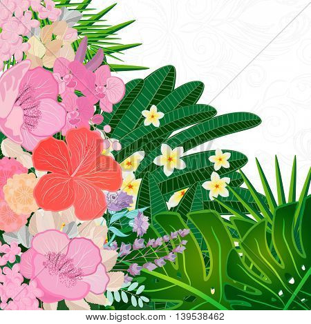 Watercolor colors flower background. Spring nature design with floral branches. Abstract illustration card.