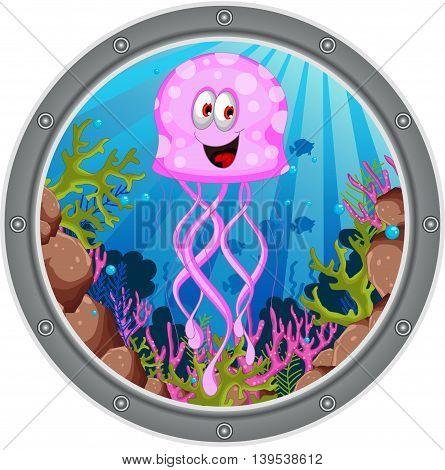 cute jellyfish cartoon posing on the frame