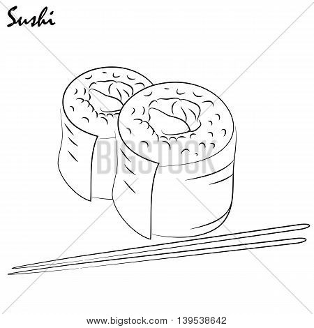 Illustration sushi. It can be used in the decoration of the menu booklets like drawing on the door cafes or restaurants or advertising
