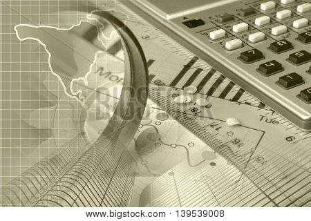 Financial background in sepia with map calculator graph and buildings.