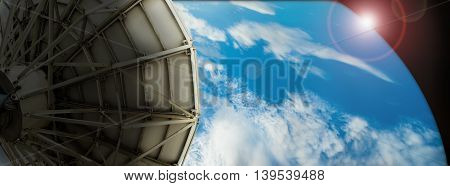 Satellite dish transmission data on background digital blue