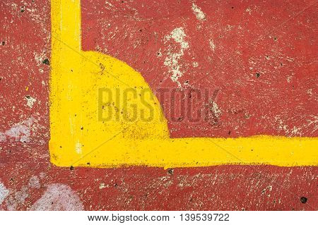 Corner red futsal field in city park