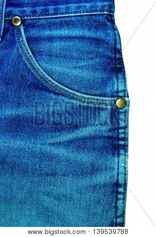 blue jeans pocket closeup on white background