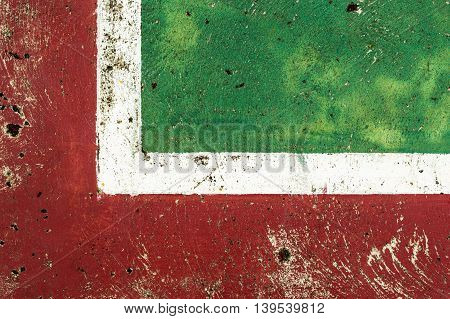 Coner basketball court  with green and red with white line