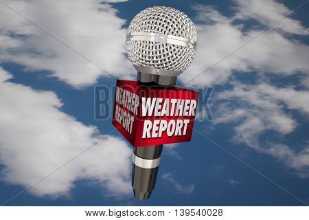 Weather Report Microphone Cloudy Sky Update News 3d Illustration