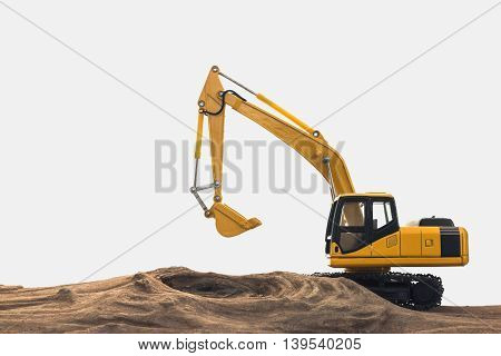 Excavator model on wooden with white background