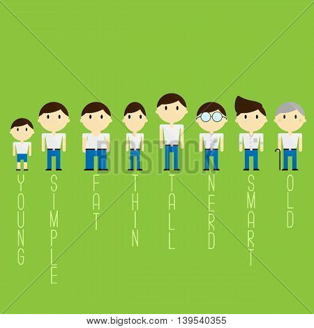 different characters and ages man in cartoon illustration.