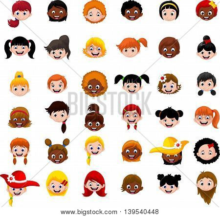 Set character of cartoon child's head girls
