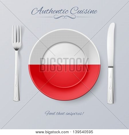 Authentic Cuisine of Poland. Plate with Polish Flag and Cutlery