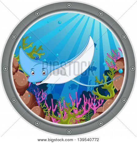 cute stingray cartoon posing on the frame
