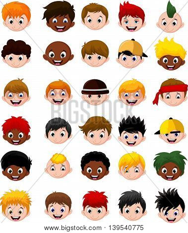 Set of cartoon child's head boys character