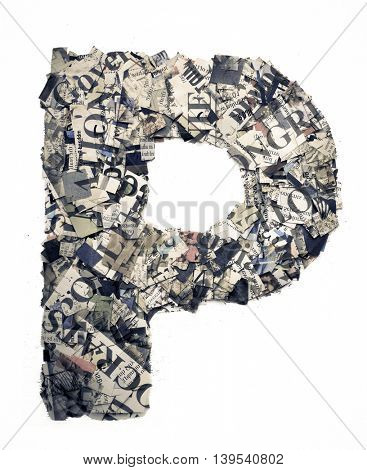 The letter P  made from newspaper confetti