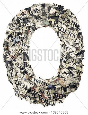 The letter O  made from newspaper confetti