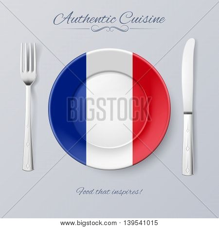 Authentic Cuisine of France. Plate with French Flag and Cutlery