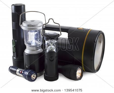 Group of various black flashlights isolated on white