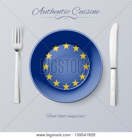 Authentic Cuisine of European Union. Plate with EU Flag and Cutlery