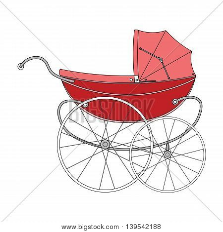 Vintage red old authentic vintage stroller with big wheels for little newborn baby girl.
