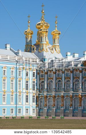 SAINT PETERSBURG, RUSSIA - APRIL 11, 2015: The domes of the resurrection Church of the Catherine Palace, sunny april day. Historical landmark of the Tsarskoye Selo, Russia