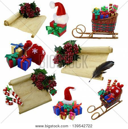 Isolated collection with Christmas decoration, gifts and letters