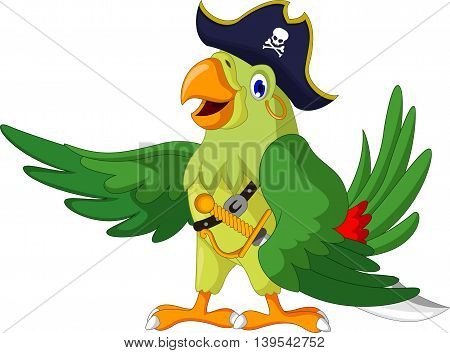 cute parrot cartoon posing with pirate costume