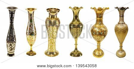 Collection of Indian vases isolated on white