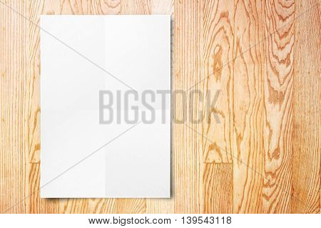 Blank Folded Paper Poster Hanging On Wooden Wall,template Mock Up For Adding Your Design