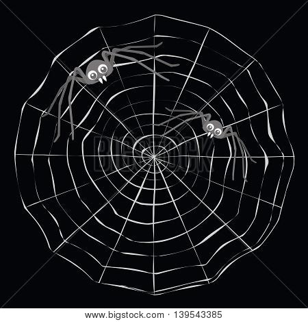 Simple cartoon spider web and grey two spiders on a black background.