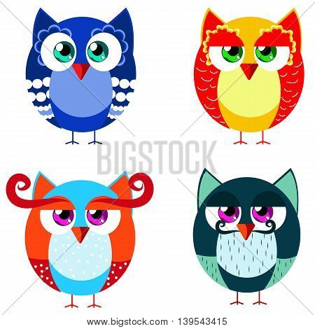 Set of colored owls in cartoon style. It can be used in children's books cards or other