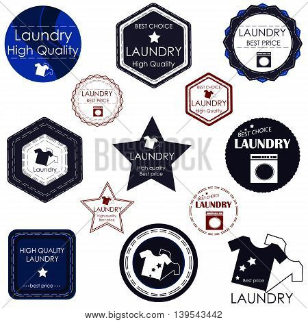 Set of stickers and badges for laundries and cleaning rooms. It can be used as a logo and advertising