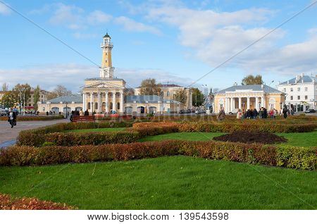 KOSTROMA, RUSSIA - OCTOBER 11, 2012: October day on the Susaninskaya square. Historical landmark of the city Kostroma, Russia