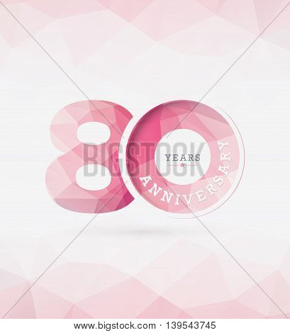 80th Years Anniversary Celebration Design in Abstract Polygon Background
