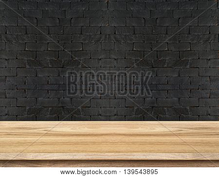 Empty Wooden Table Top At Black Brick Wall,template Mock Up For Display Of Your Product