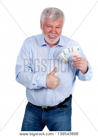 Laughing man with money in hand showing the thumbs up