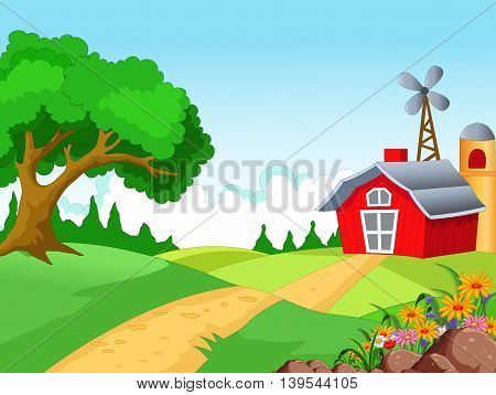 beauty Farm with landscape background for you design