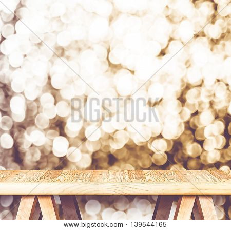 Vintage Filter : Empty Perspective Wooden Table With Sparkling Bokeh Wall ,template Mock Up For Disp