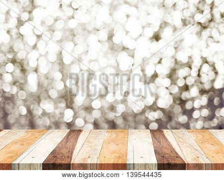 Empty Perspective Tropical Wooden Table With Sparkling Bokeh Wall ,template Mock Up For Display Of Y