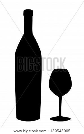 Wine bottle and wine glass silhouette isolated on white background. Vector illustration