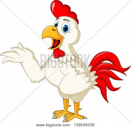 Happy cartoon rooster waving for you design