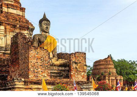 Wat Yai Chai Mongkol temple at  ayutthaya