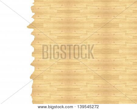 Maple hardwood floor basketball court, viewed from above, isolated on white background.
