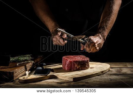 Chef Butcher Prepare Beef Steak