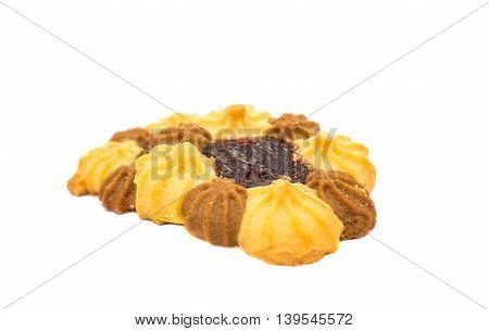 biscuits with jam isolated on white background