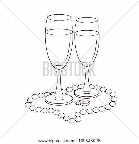 Illustration of champagne glasses for celebration and rejoicing