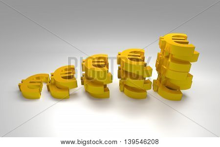 The graph made from gold euro signs. 3D rendering.