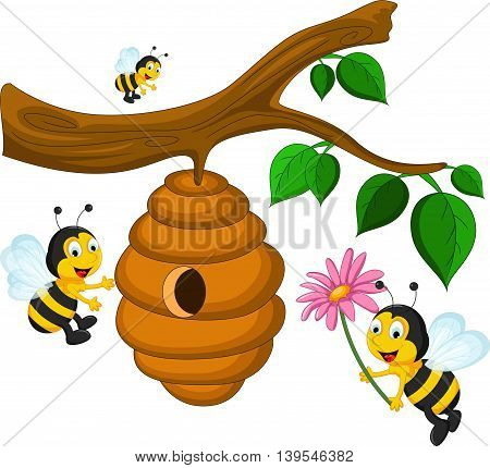 Bees cartoon holding flower and a beehive