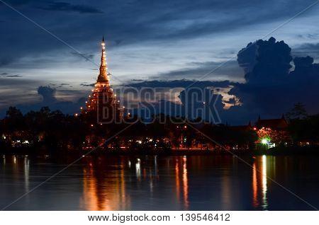 Phra Mahathat Kaen Nakhon at night Khon Kaen Thailand