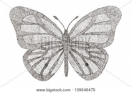 Butterfly made with pattern of dots. Seamless handmade pattern with butterfly. Dotted butterfly with a pattern of dots.