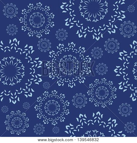 Seamless ornament with a decorative snowflakes in abstract style