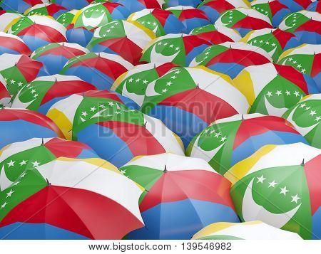 Umbrellas With Flag Of Comoros